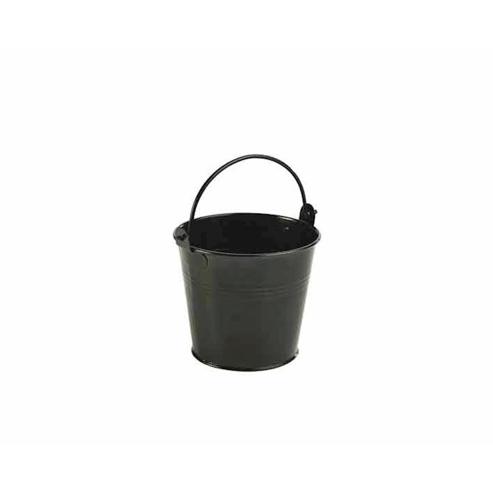 Mini secchiello in acciaio inox smaltato nero cm 10