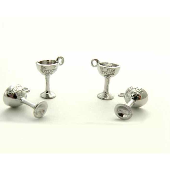Set 2 calici gioielli sposi decora bicchieri