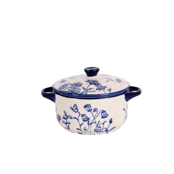 Cocotte English vintage in porcellana bianca e blu cm 10