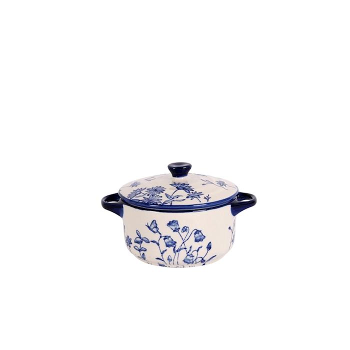 Cocotte English vintage in porcellana bianca e blu cm 7