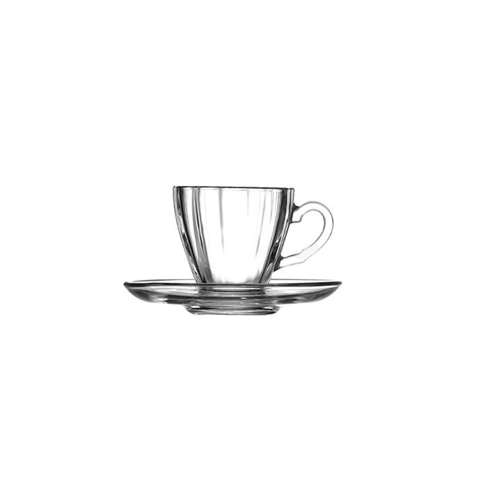 Tazza caffè con piatto Diamond in vetro cl 7