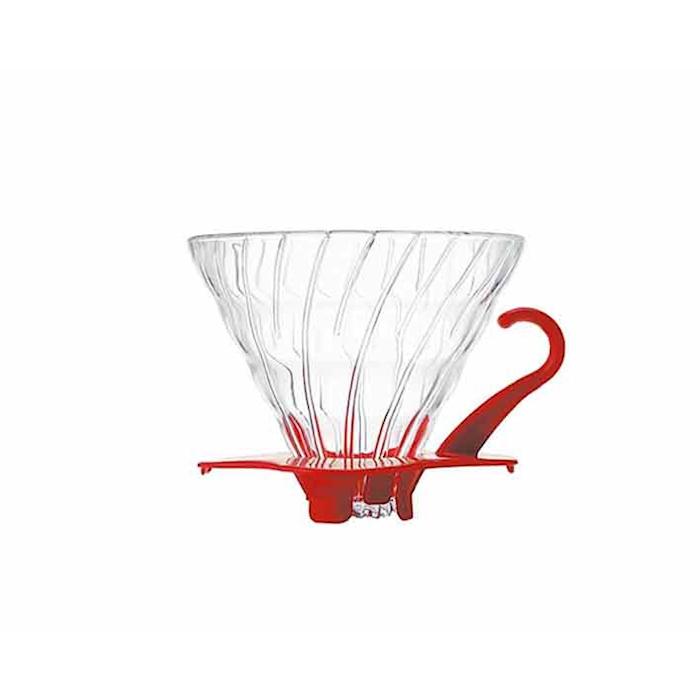 Filtro caffè 1-4 tazze in vetro con bordo rosso