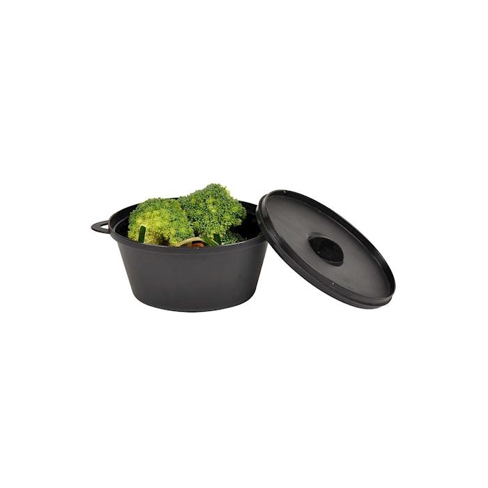 Minicasseruola ovale con coperchio nera cm 15,5x10x7,5