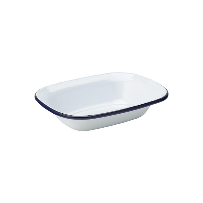 Coppetta smaltata bianca con rigo blu cm 16x12