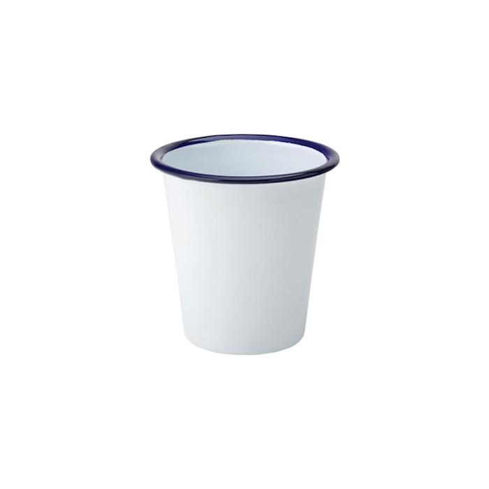 Tazza mug smaltata bianca con rigo blu cl 32