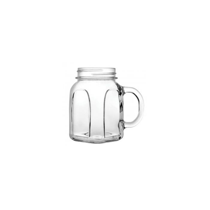 Bicchiere barattolo con manico in vetro cl 45