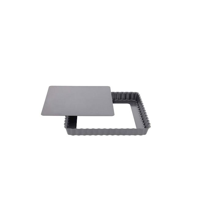 Tortiera quadra festonata De Buyer con fondo mobile in acciaio inox antiaderente cm 18