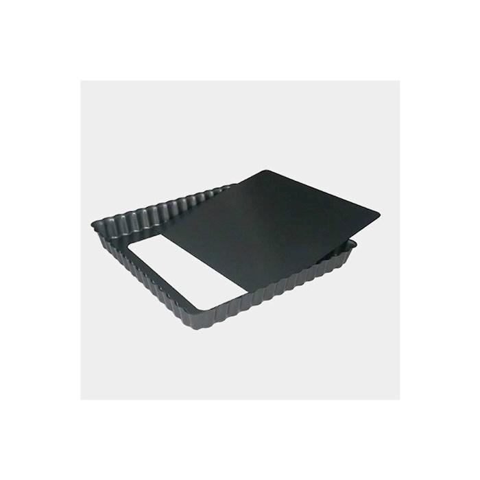 Tortiera quadra festonata De Buyer con fondo mobile in acciaio inox antiaderente cm 23