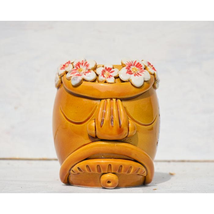 Tiki Mug Hawaii Flower in porcellana marrone cl 55