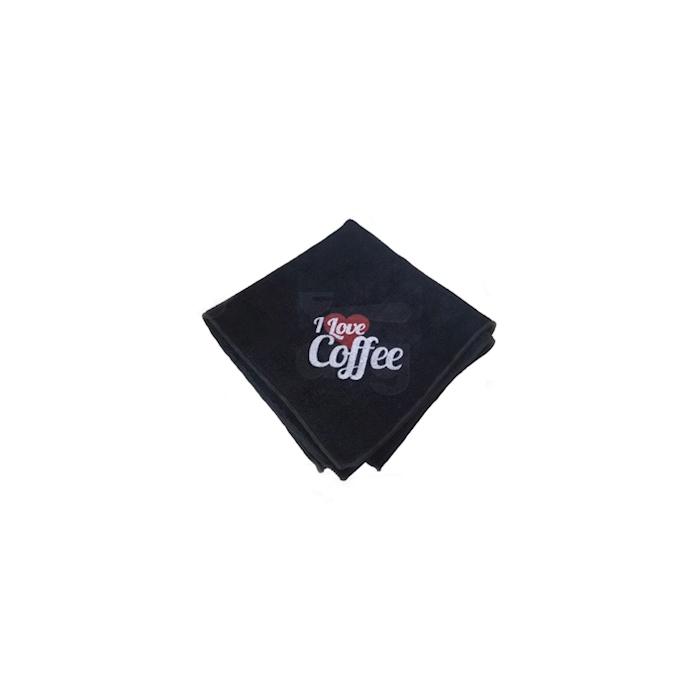 Panno multiuso I Love Coffee in microfibra nero cm 40x40