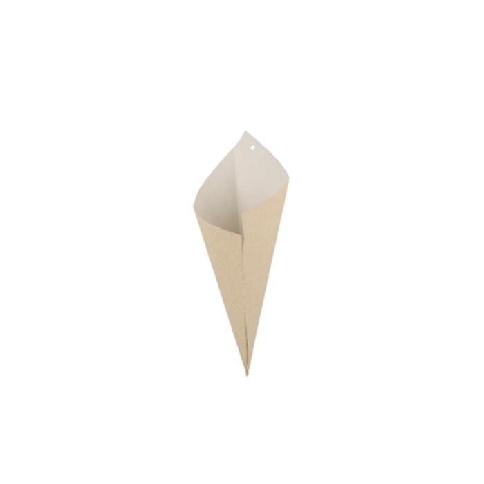 Coni monouso in carta marrone con interno bianco cm 29,5x21