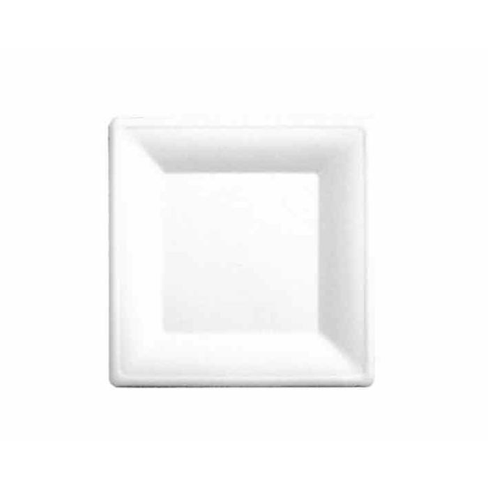 Piattino quadrato Bionic in polpa cellulosa bianca cm 16x16