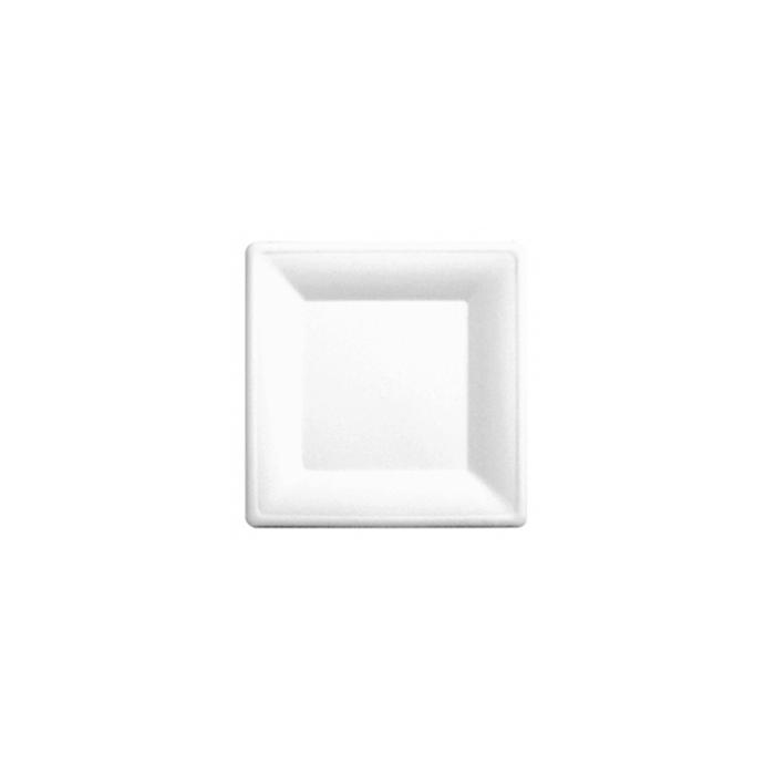 Piatto Bionic Monouso In Polpa Di Cellulosa Bianca Cm 20×20