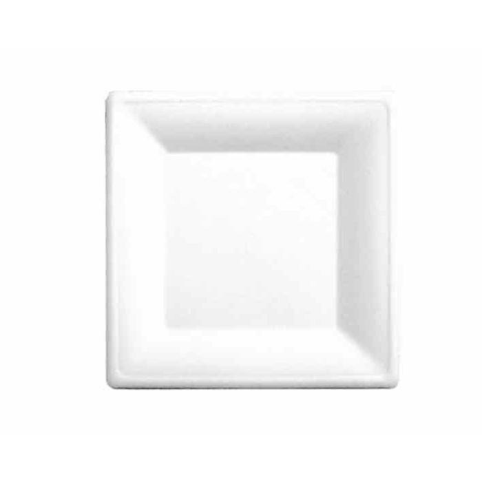 Piattino quadrato Bionic in polpa cellulosa bianca cm 26x26