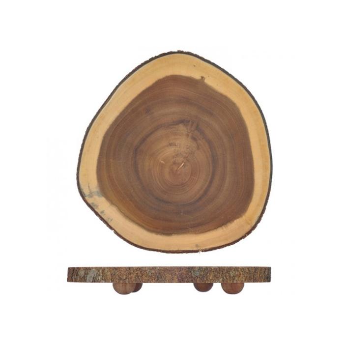 Tagliere tondo in legno con piedini cm 23