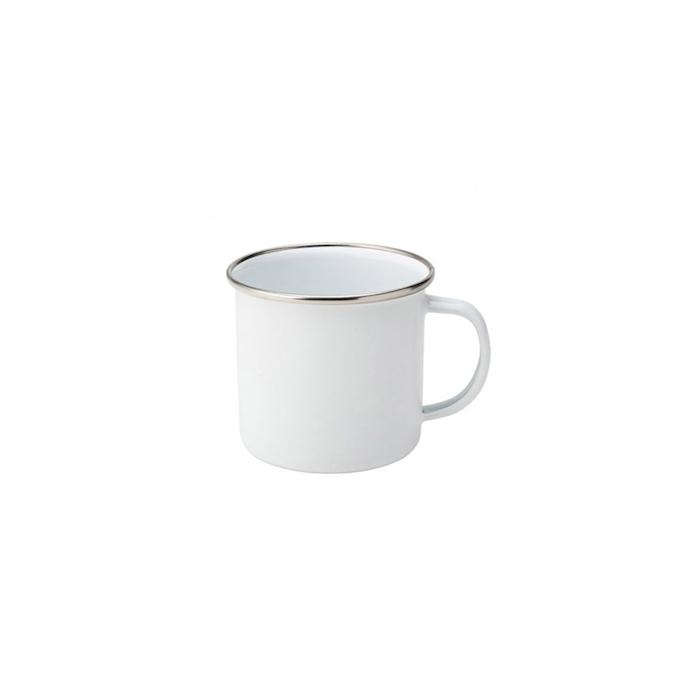 Tazza mug smaltata bianca con bordo argento cl 38
