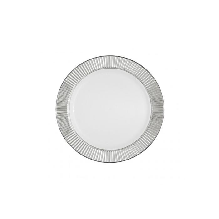 Piatto piano in plastica con bordo argento cm 19