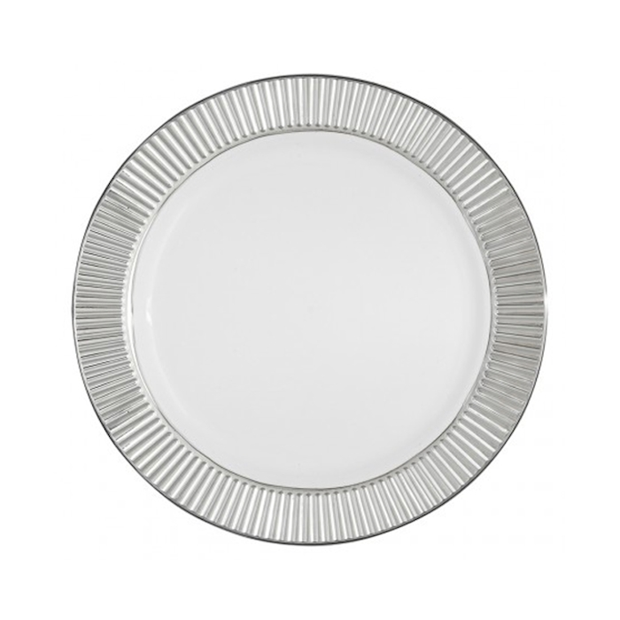 Piatto piano in plastica con bordo argento cm 25,5