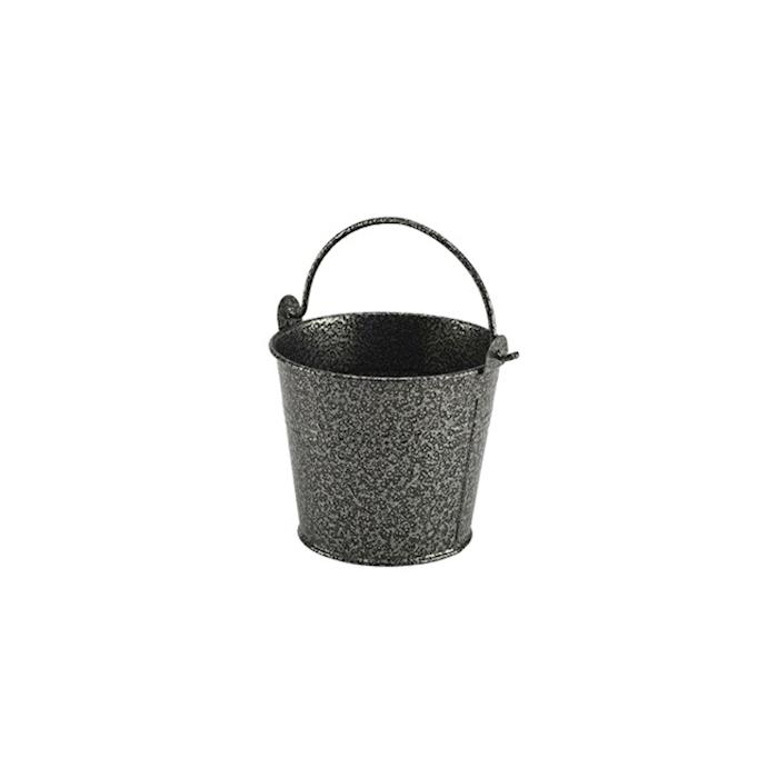 Minisecchiello in acciaio zincato martellato nero cm 10