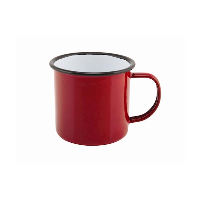 Tazza mug smaltata rossa con profilo nero cl 36