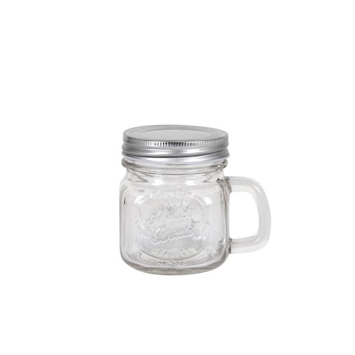 Bicchiere barattolo Pitcher in vetro con tappo cl 28