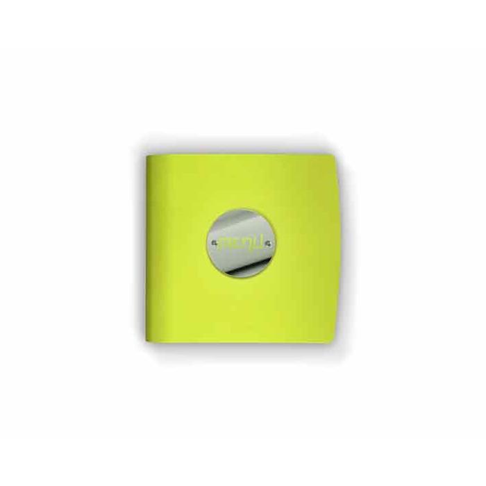 """Porta Menù Fluo quadro """"Menù"""" In Pelle giallo Cm 23×23,5"""