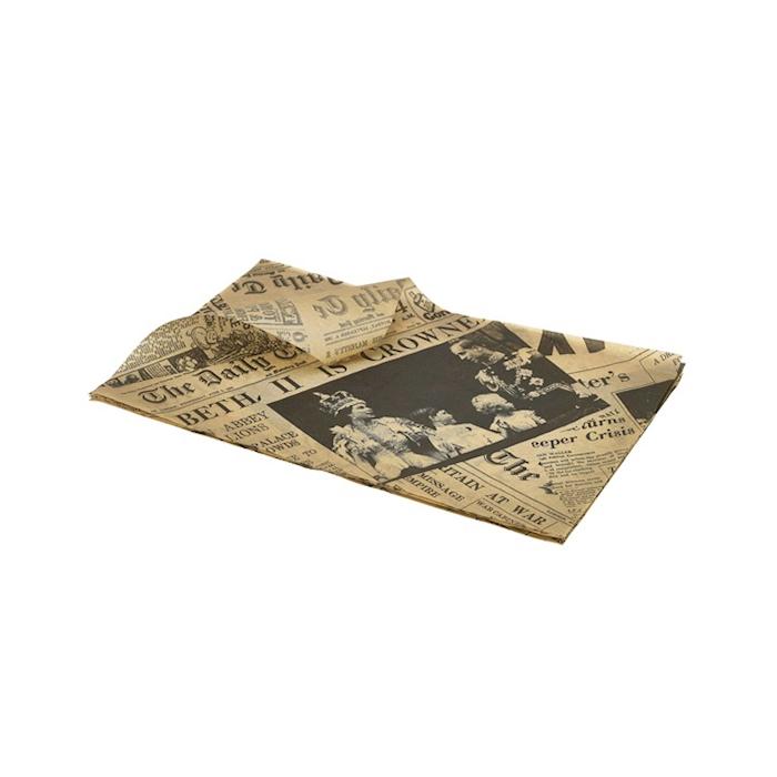 Fogli per alimenti con decoro newspaper marrone cm 35x25