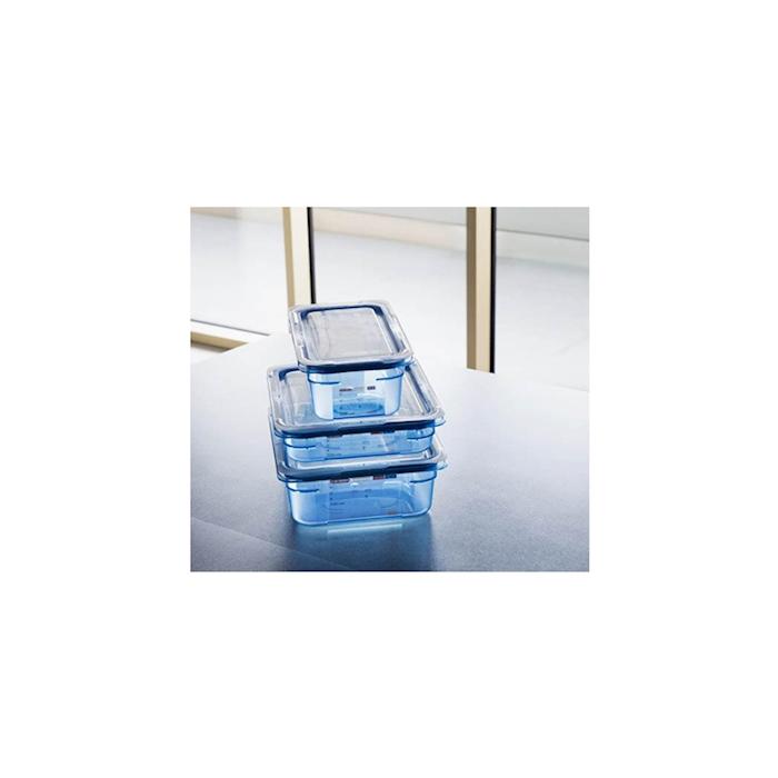 Contenitore 1/2 in plastica azzurra con coperchio altezza cm 15