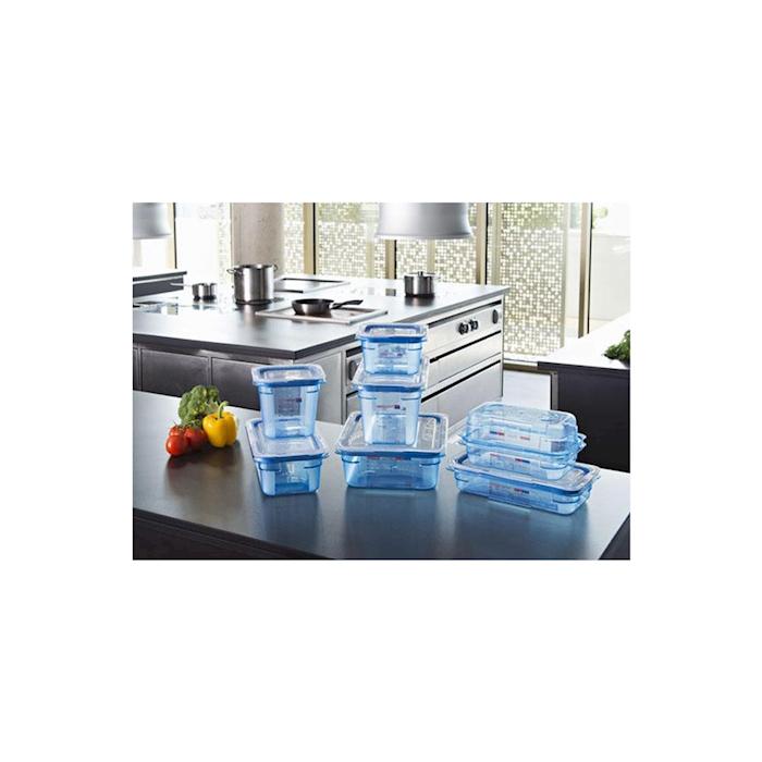 Contenitore 1/1 in plastica azzurra con coperchio altezza cm 10