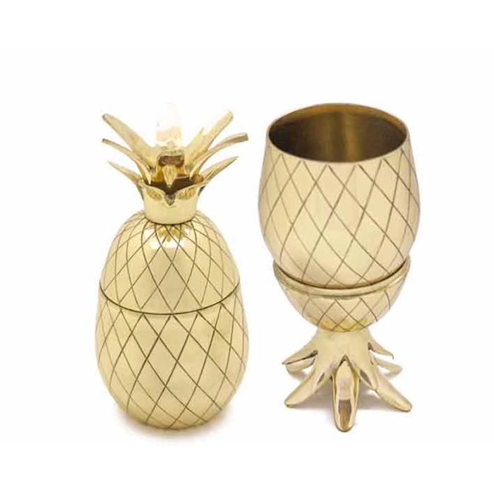 Ananas Pineapple in ottone dorato cl 27