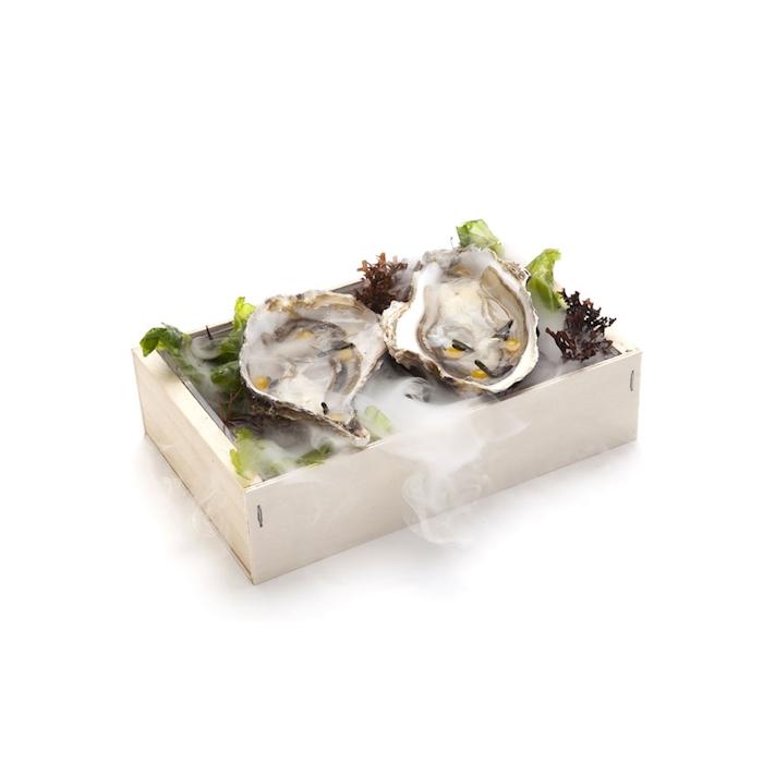 Cassetta per frutti di mare 100% Chef in legno cm 21x13x5