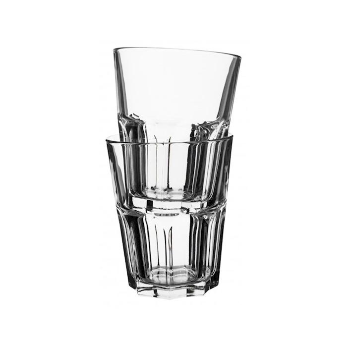 Bicchiere granity basso impilabile in vetro trasparente cl 35