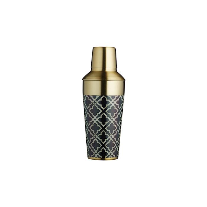 Cobbler shaker in ottone con decoro geometrico cl 75