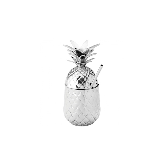 Bicchiere Pineapple Hawaii in acciaio silver con cannuccia cl 57