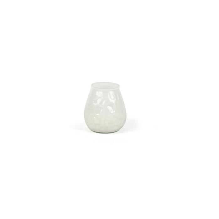 Candela in bicchiere di vetro bianco cm 6