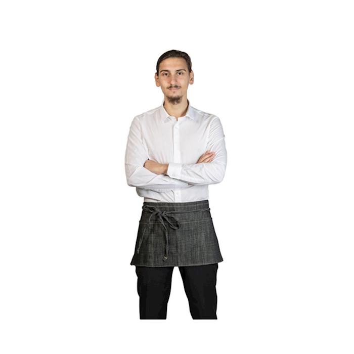 Grembiule Pub 3 tasche jeans in cotone nero cm 70x30