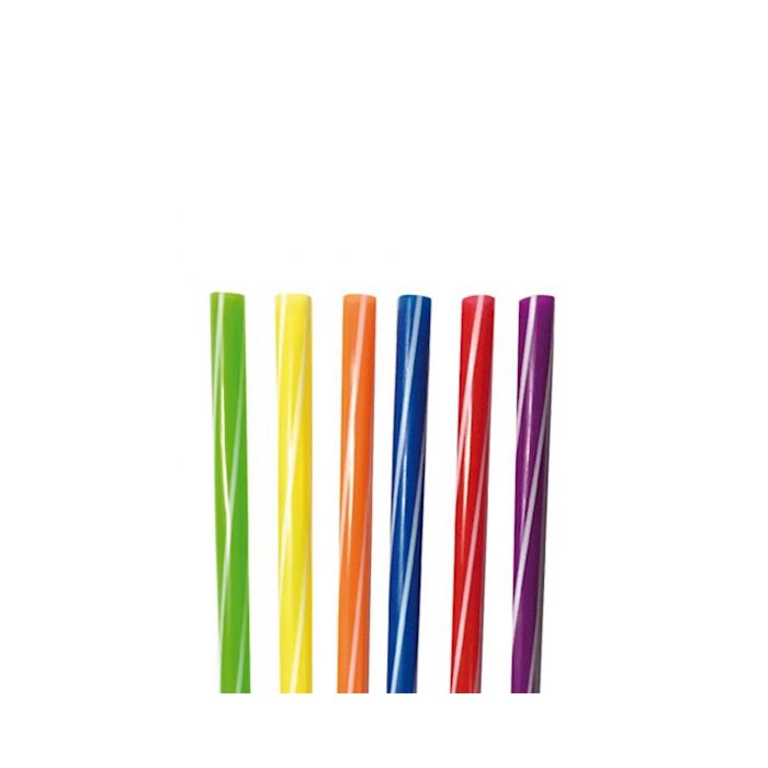 Cannucce a righe in plastica di colori assortiti cm 21x0,8