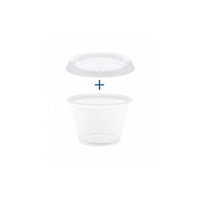 Coppetta salsa con coperchio in polipropilene trasparente cl 6
