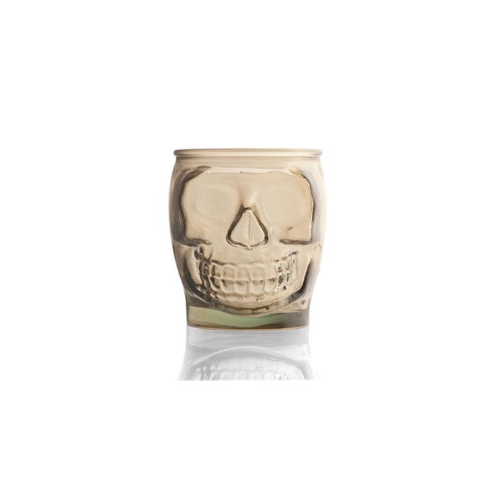 Bicchiere teschio in vetro ambra cl 46