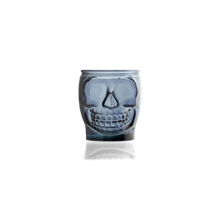 Bicchiere teschio in vetro blu cl 46