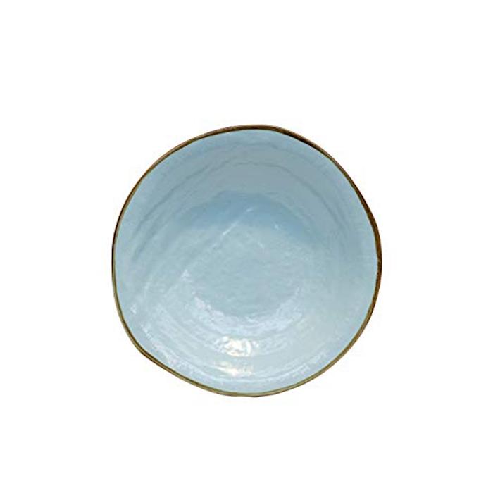 Piatto fondo Mediterraneo in ceramica turchese cm 24