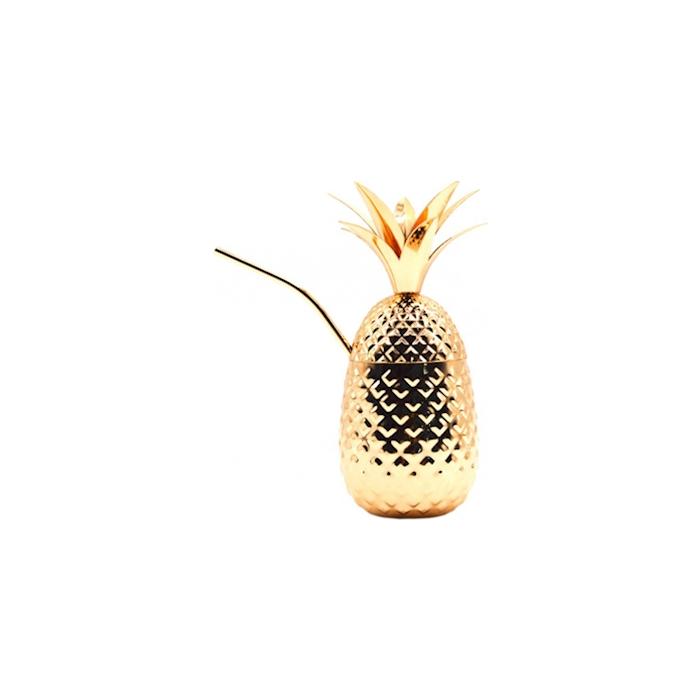 Bicchiere Pineapple con cannuccia in acciaio inox oro cl 45,5