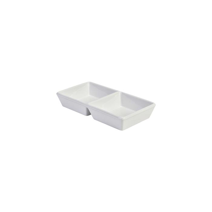 Antipastiera 2 scomparti in porcellana bianca cm 25x12,5x4