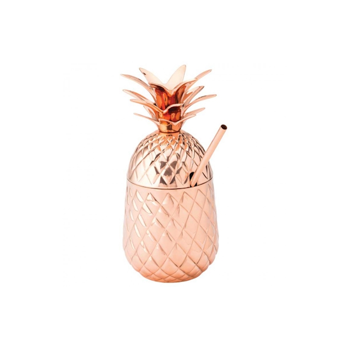 Bicchiere Hawaii Pineapple con cannuccia in acciaio ramato cl 57