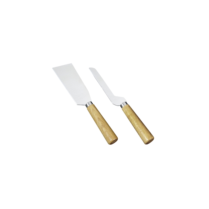 Set 2 coltelli formaggio Sicilia in acciaio inox con manico in legno