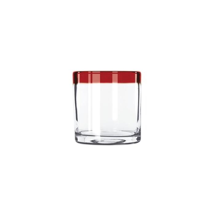 Bicchiere Aruba Rocks in vetro trasparente con bordo rosso cl 35,5