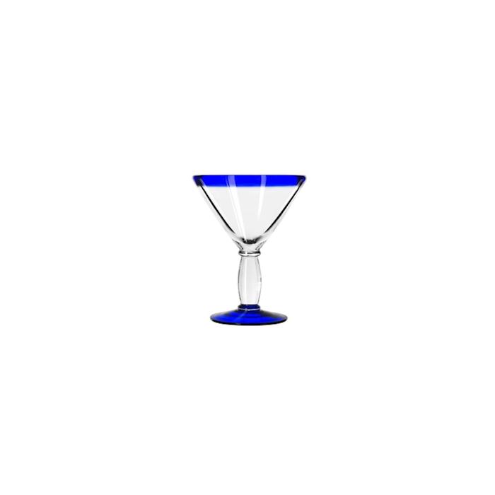 Coppa Martini Aruba in vetro trasparente con bordo blu cl 29,6