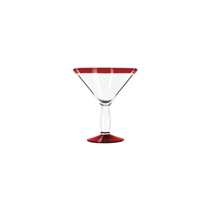 Coppa Martini Aruba in vetro trasparente con bordo rosso cl 29,6