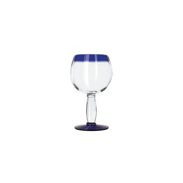 Bicchiere Aruba ballon in vetro trasparente con bordo blu cl 47,3