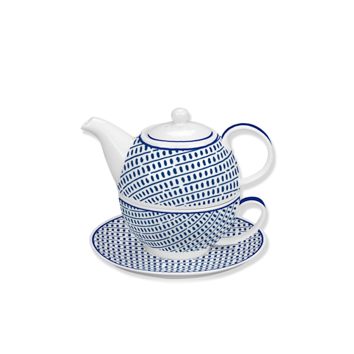 Tea For one Andalusia in porcellana bianca e blu